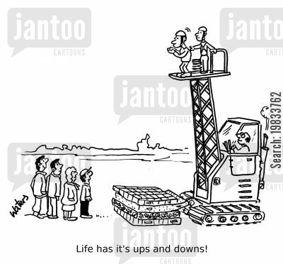 cranes cartoon humor: Life has its ups and downs!
