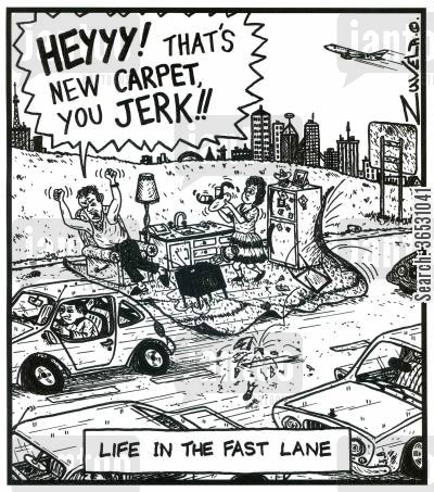 famous saying cartoon humor: 'HEYYY! That's new CARPET,you JERK!!' - Life in the fast lane.