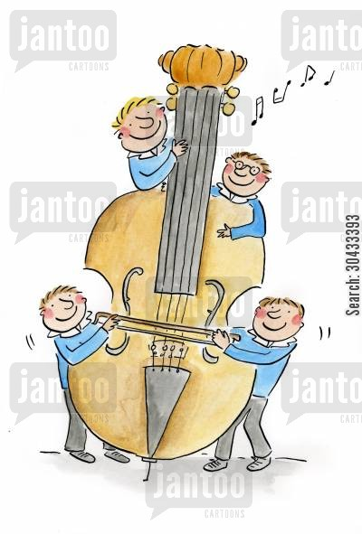 musician cartoon humor: Double Bass