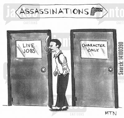 organised crime cartoon humor: Assasinations - Live Jobs Character only