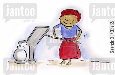 clean water cartoon humor: Water pump
