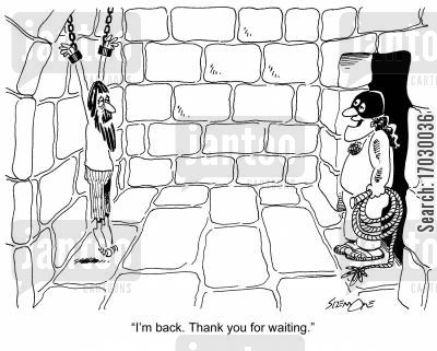 clich cartoon humor: 'I'm back. Thank you for waiting.'