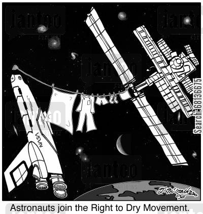 clothesline cartoon humor: Astronauts join the Right to Dry Movement.