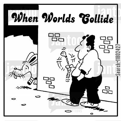 amputations cartoon humor: When worlds collide: limping rabbit about to bump into man with rabbit foot keyring.