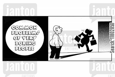 boring man cartoon humor: Common problems of very boring people...their shadows run away.