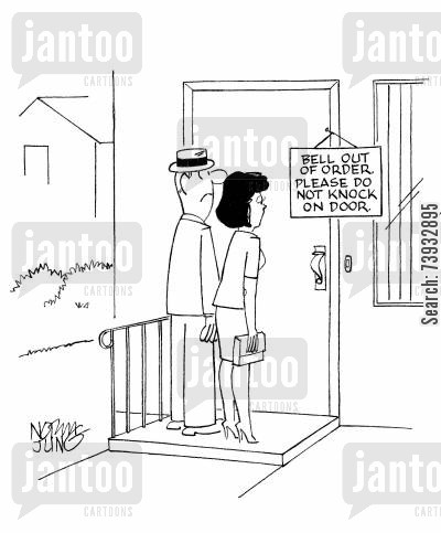 etiquettes cartoon humor: Couple see sign on door: Bell out of order. Please do not knock on door.
