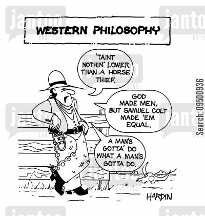horse thief cartoon humor: Western Philosophy.