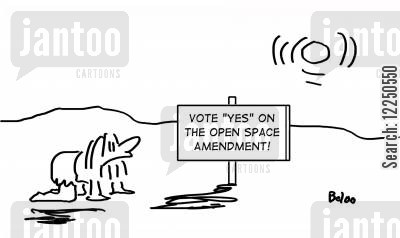 open spaces cartoon humor: Vote yes on the open space amendment!