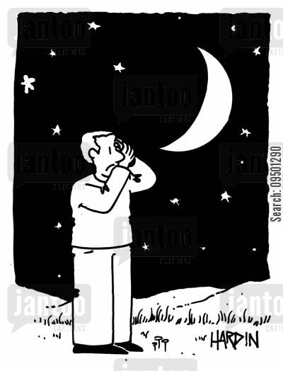 crescent moon cartoon humor: Man covering one eye looking at the moon.