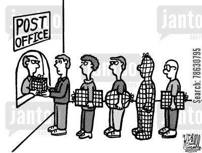 package cartoon humor: Post Office (packages for delivery)