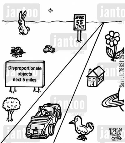 road trips cartoon humor: Disproportionate objects next 5 miles.