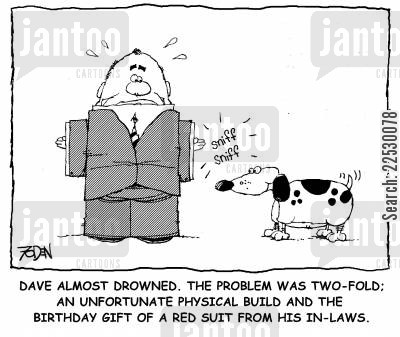 inlaws cartoon humor: Physical Build...and the Birthday Gift of a Red Suit From His In-Laws