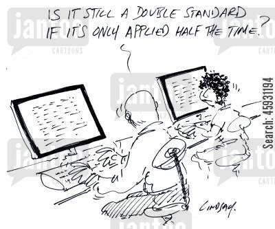 standard cartoon humor: Is it still a double standard if it's only only applied half the time?