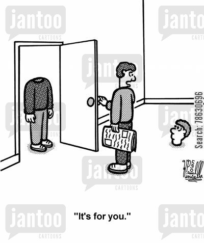 reunion cartoon humor: 'It's for you.' (severed head and headless body)
