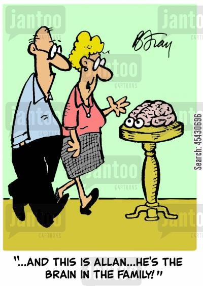 intro cartoon humor: 'And this is Allan...he's the brain in the family!'