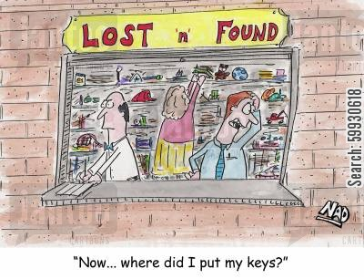 lost key cartoon humor: Lost and Found: 'Now where did I put my keys'