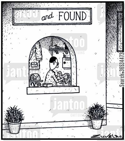 misplacing cartoon humor: The word 'Lost' at the Lost and Found, is lost.