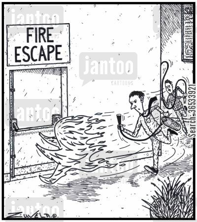 stairwell cartoon humor: Fire Escape - A large flame of Fire trying to escape from two Office Workers chasing it with Fire Extinguisher and Fire Hose in hand.