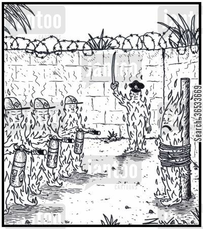 death sentences cartoon humor: A fire about to be extinguished by a Firing Squad using fire extinguishers.