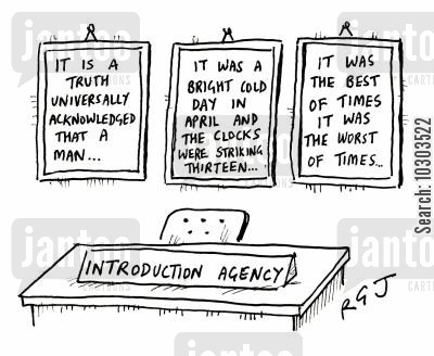 literary agency cartoon humor: Introduction Agency.