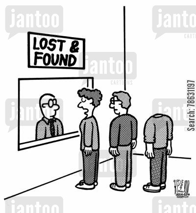 missing cartoon humor: Lost and Found Booths