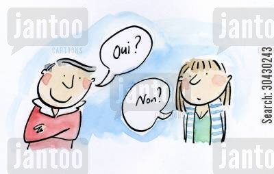 french speaker cartoon humor: Oui? Non?