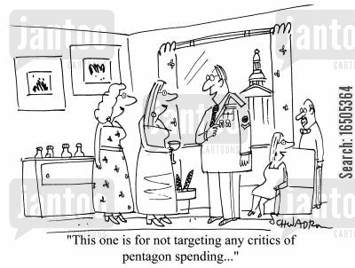 military award cartoon humor: 'This one is for not targeting any critics of pentagon spending...'