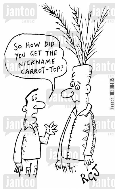 red head cartoon humor: So how did you get the nickname Carrot top?
