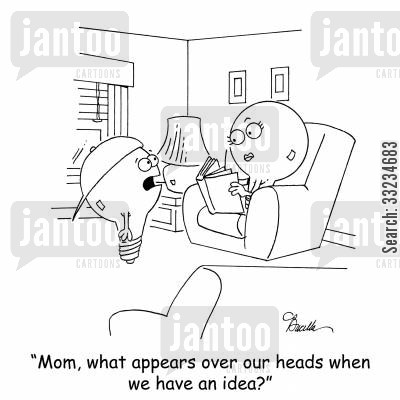 bulbs cartoon humor: 'Mom, what appears over our heads when we have an idea?'