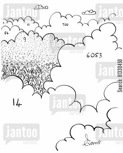 overpopulated cartoon humor: A collection of numbered clouds; everyone is on cloud 9.