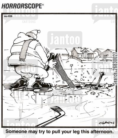 iceskates cartoon humor: Someone may try to pull your leg this afternoon.