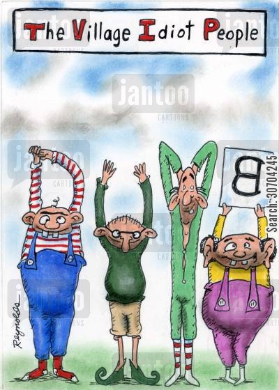 body shapes cartoon humor: The Village Idiot People.