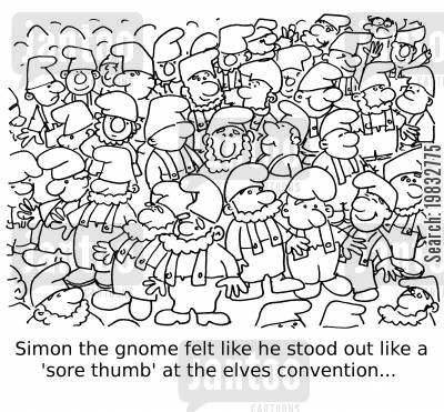 blending in cartoon humor: Simon the gnome felt like he stood out like a 'sore thumb' at the elves convention...