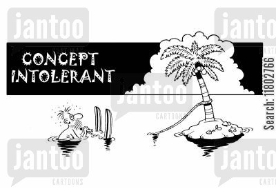 intolerance cartoon humor: Concept intolerant...(trying to waterski from a palm tree).