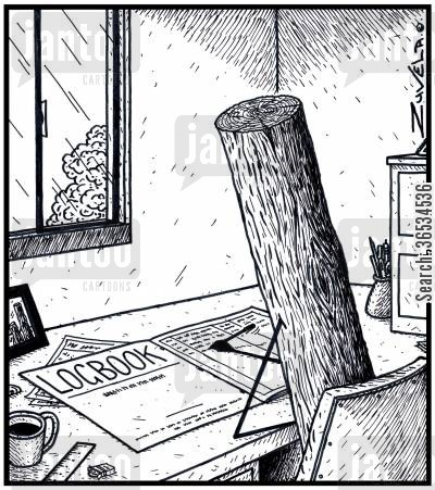 loggers cartoon humor: A timber Log filling out his Logbook