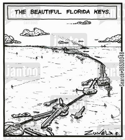 florida cartoon humor: The Beautiful Florida Keys.