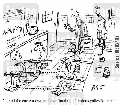 fitted kitchens cartoon humor: 'And the current owners have fitted this fabulous galley kitchen.'