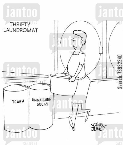 missing socks cartoon humor: Laundromat has a bin for trash & one for unmatched socks