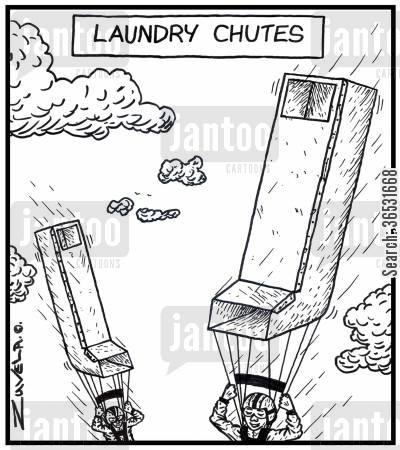 skydiver cartoon humor: Laundry Chutes.