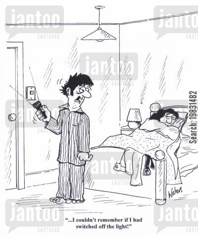 bedtimes cartoon humor: '... I couldn't remember if I had switched off the light!'