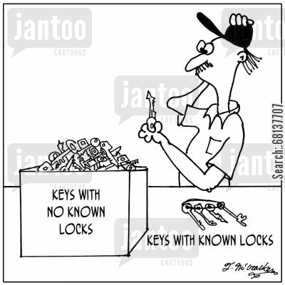 key locks cartoon humor: 'Keys with known locks' 'Keys with no known locks.'