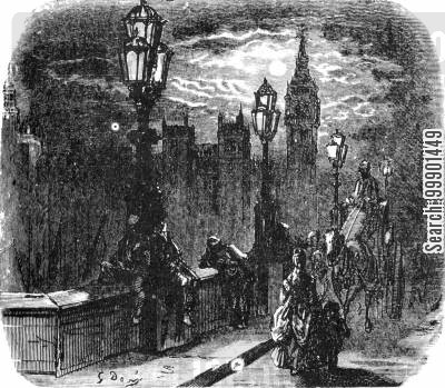 joseph bazalgette cartoon humor: London Bridge at Night