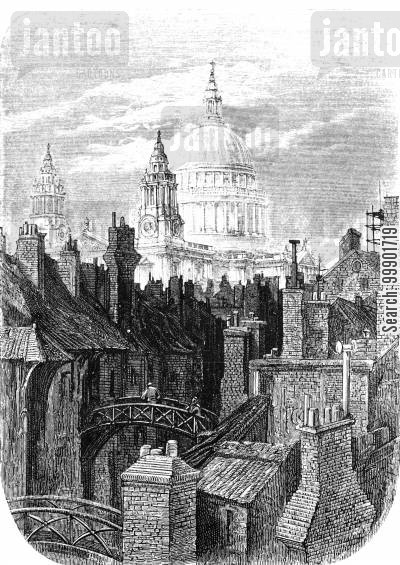 victorian slum cartoon humor: St Paul's Cathedral over the Rooftops