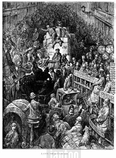 victorian cartoon humor: 'A City Thoroughfare'-Thames St