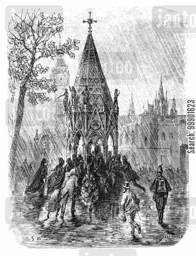 pouring down cartoon humor: Londoners Take Shelter under a Drinking Fountain at Westminster