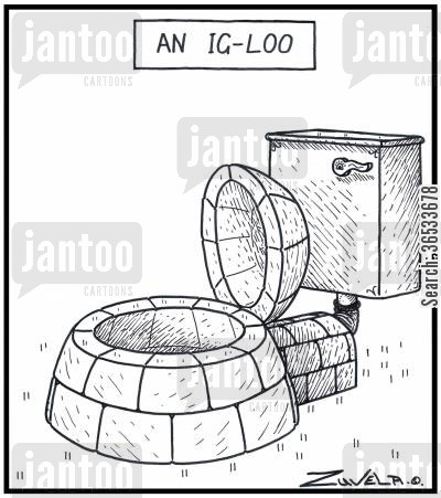 frigid cartoon humor: An Ig-loo - A toilet in the form of an Igloo.