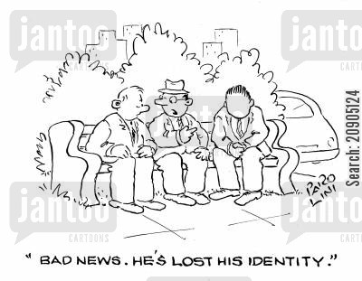 id cards cartoon humor: 'Bad news. He's lost his identity.'