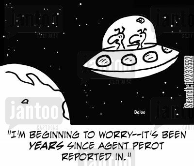 ross perot cartoon humor: 'I'm beginning to worry -- it's been years since Agent Perot reported in.'