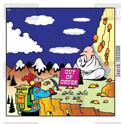 mountain man cartoon humor: Man on the mountain has 'out of order' sign in front of him.