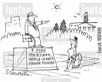 statesmen cartoon humor: R Syms: Statesman, world leader, finger pointer.